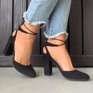 Mary Jan Black Lace Up Block Heel Pumps